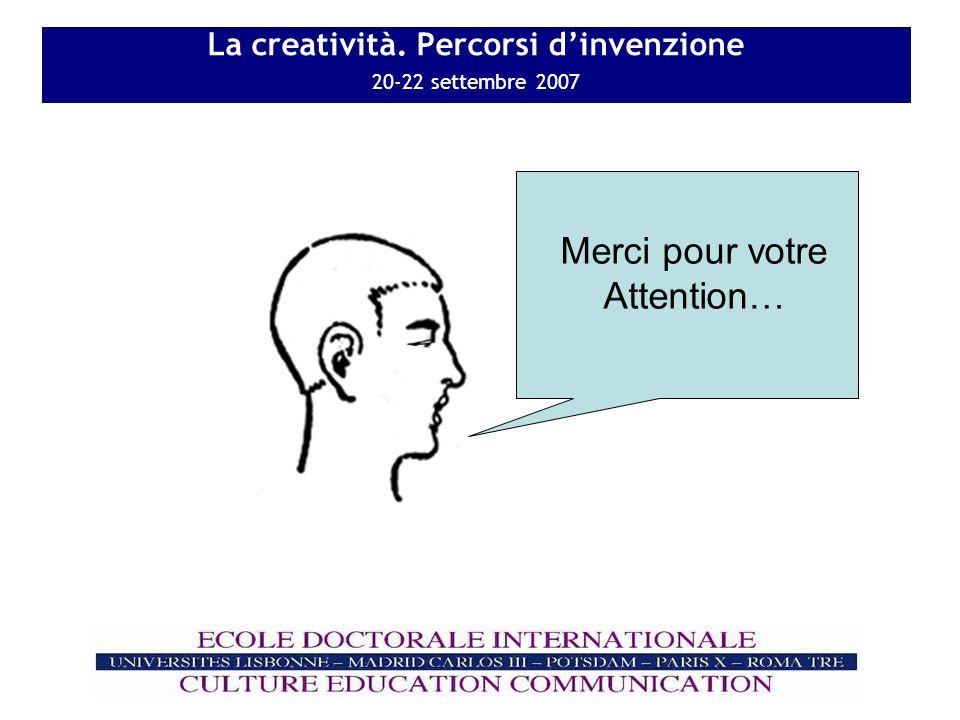 La creatività. Percorsi dinvenzione 20-22 settembre 2007 Merci pour votre Attention…