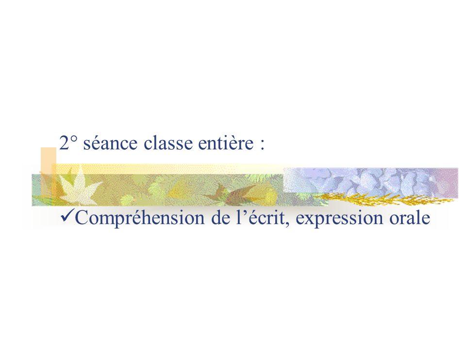 2° séance classe entière : Compréhension de lécrit, expression orale