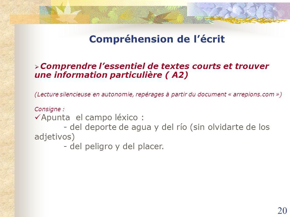 20 Comprendre lessentiel de textes courts et trouver une information particulière ( A2) (Lecture silencieuse en autonomie, repérages à partir du docum