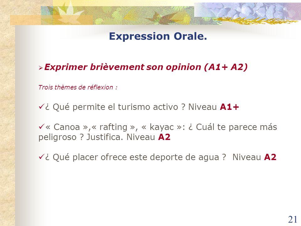 21 Expression Orale. Exprimer brièvement son opinion (A1+ A2) Trois thèmes de réflexion : ¿ Qué permite el turismo activo ? Niveau A1+ « Canoa »,« raf