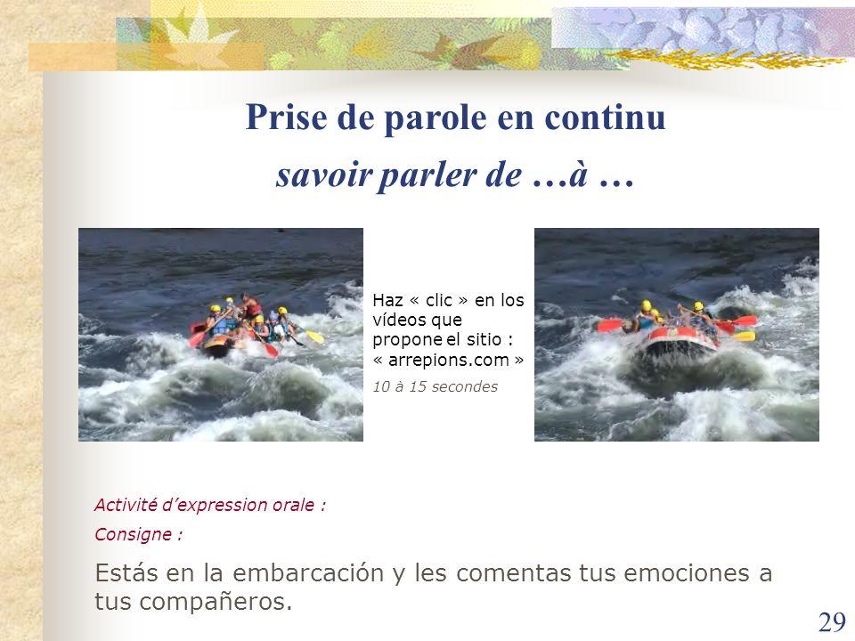 29 Haz « clic » en los vídeos que propone el sitio : « arrepions.com » 10 à 15 secondes savoir parler de …à … Activité dexpression orale : Consigne :