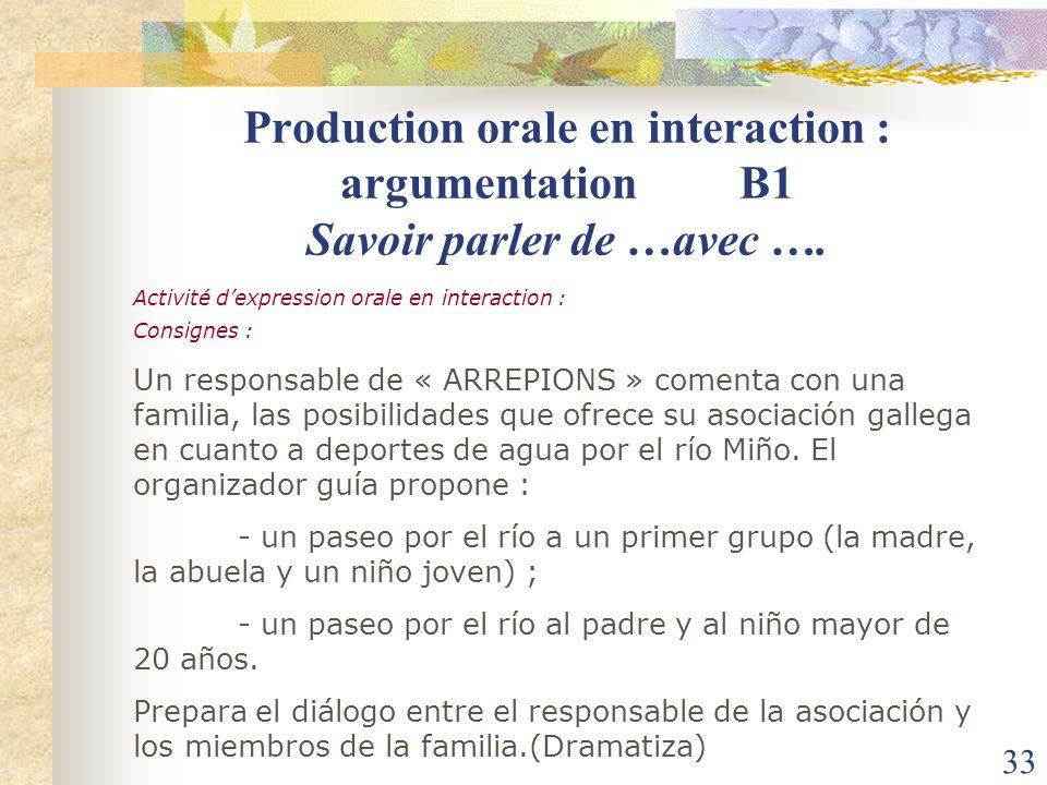 33 Production orale en interaction : argumentation B1 Savoir parler de …avec …. Activité dexpression orale en interaction : Consignes : Un responsable