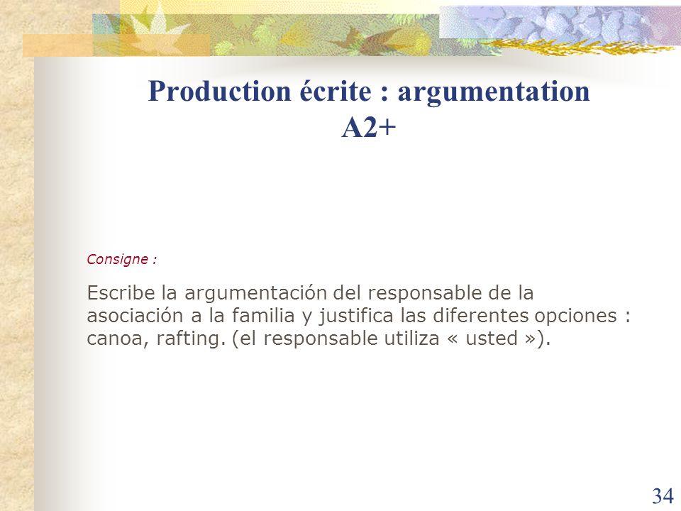 34 Consigne : Escribe la argumentación del responsable de la asociación a la familia y justifica las diferentes opciones : canoa, rafting. (el respons