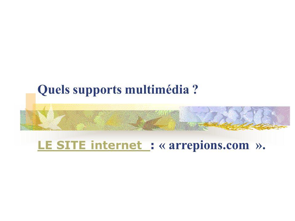 Quels supports multimédia ? LE SITE internet LE SITE internet : « arrepions.com ».