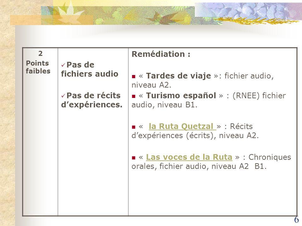6 2 Points faibles Pas de fichiers audio Pas de récits dexpériences. Remédiation : « Tardes de viaje »: fichier audio, niveau A2. « Turismo español »