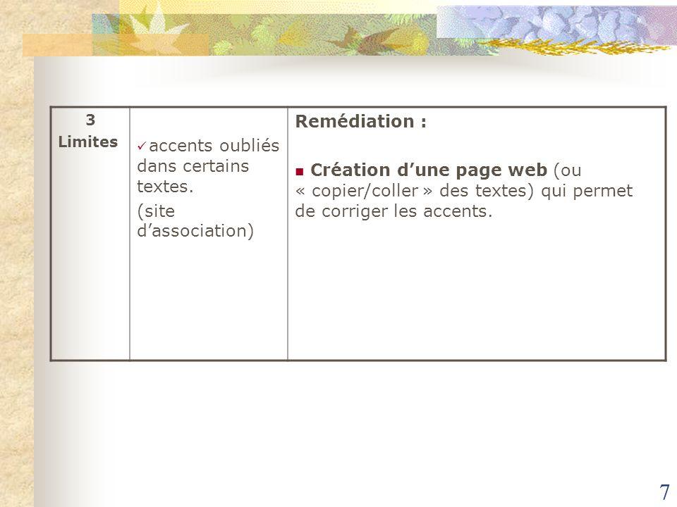 7 3 Limites accents oubliés dans certains textes. (site dassociation) Remédiation : Création dune page web (ou « copier/coller » des textes) qui perme