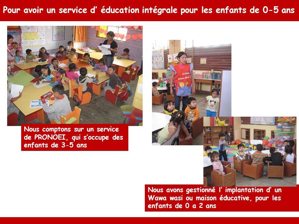 Pour avoir un service d éducation intégrale pour les enfants de 0-5 ans Nous avons gestionné l implantation d un Wawa wasi ou maison éducative, pour les enfants de 0 a 2 ans Nous comptons sur un service de PRONOEI, qui soccupe des enfants de 3-5 ans