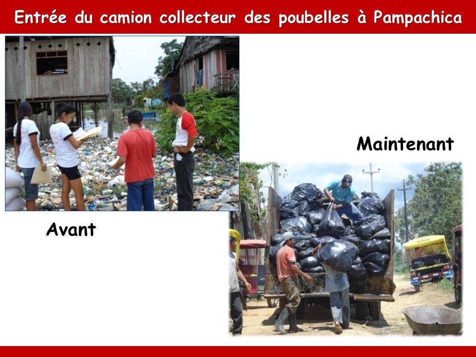 Entrée du camion collecteur des poubelles à Pampachica Avant Maintenant