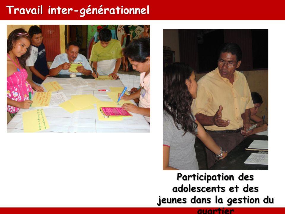Travail inter-générationnel Participation des adolescents et des jeunes dans la gestion du quartier