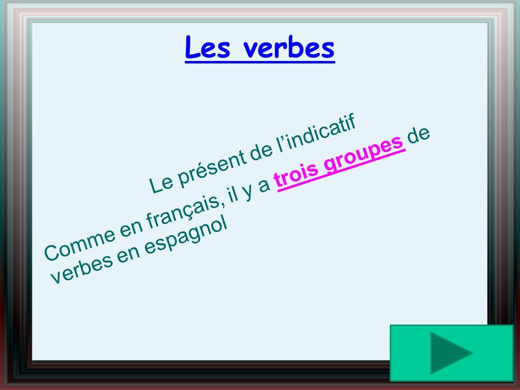 Les verbes Le présent de lindicatif Comme en français, il y a trois groupes de verbes en espagnol