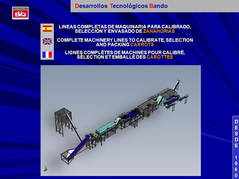 LINEAS COMPLETAS DE MAQUINARIA PARA CALIBRADO, SELECCIÓN Y ENVASADO DE ZANAHORIAS COMPLETE MACHINERY LINES TO CALIBRATE, SELECTION AND PACKING CARROTS