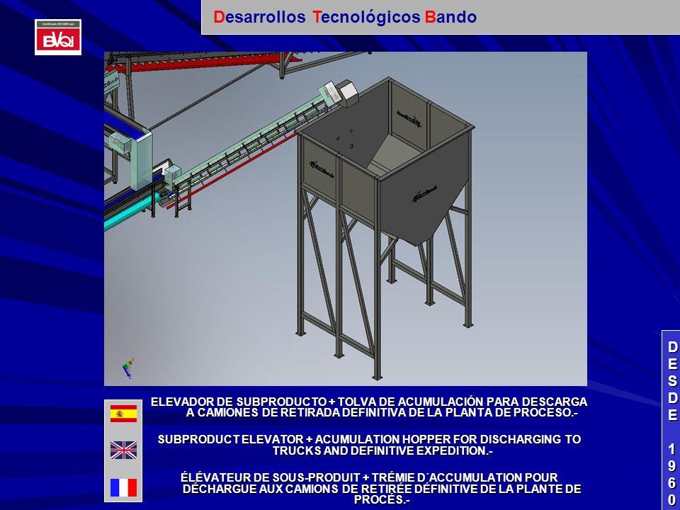 ELEVADOR DE SUBPRODUCTO + TOLVA DE ACUMULACIÓN PARA DESCARGA A CAMIONES DE RETIRADA DEFINITIVA DE LA PLANTA DE PROCESO.- SUBPRODUCT ELEVATOR + ACUMULATION HOPPER FOR DISCHARGING TO TRUCKS AND DEFINITIVE EXPEDITION.- ÉLÉVATEUR DE SOUS-PRODUIT + TRÉMIE D´ACCUMULATION POUR DÉCHARGUE AUX CAMIONS DE RETIRÉE DÉFINITIVE DE LA PLANTE DE PROCÉS.- DESDEDESDE 1960 1960DESDEDESDE 1960 1960 Desarrollos Tecnológicos Bando
