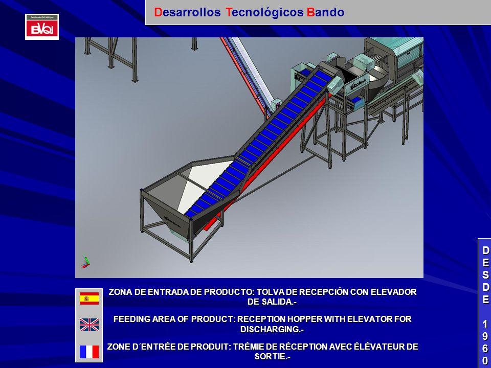 ZONA DE PRE-LIMPIEZA DE PRODUCTO: DESTERRADOR DE ZANAHORIAS CON CINTA DE SALIDA DE TIERRAS+ QUITAPIEDRAS CON ELEVADOR PARA SALIDA DE PIEDRAS.- PRE-CLEANING AREA FOR PRODUCT: LAND REMOVER OF CARROTS WITH TRANSPORT BELT TO TAKE OUT THE LANDS + STONE-REMOVER WITH ELEVATOR TO TAKE OUT THE STONES.- ZONE DE PRE-PROPRETE DE PRODUIT: ENLEVER TERRE DE CAROTTES AVEC TAPIS DE SORTIE DE TERRES + ENLEVER TERRE PIERRES AVEC ÉLÉVATEUR POUR SORTIE DE PIERRES.- DESDEDESDE 1960 1960DESDEDESDE 1960 1960 Desarrollos Tecnológicos Bando