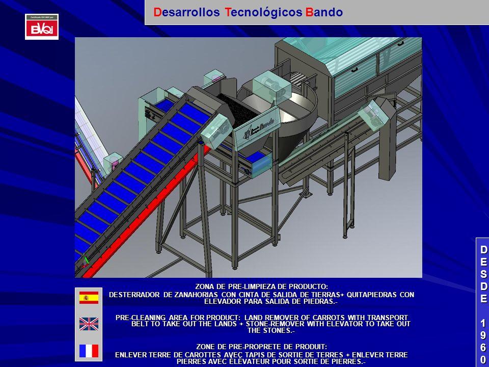 SALIDA DE PRODUCTO DE HIDROCOOLER + ELEVADOR DE RECOGIDA DE PRODUCTO PARA ENTRADA DIRECTA A CALIBRADORA.- EXIT OF PRODUCT FROM HIDROCOOLER + ELEVATOR TO COLLECT THE PRODUCT DIRECTLY TOWARD GRADING MACHINE.- SORTIE DE PRODUIT DE HIDROCOOLER + ÉLÉVATEUR DE RAMASSAGE DE PRODUIT POUR ENTRÉE DIRECTE À MACHINE CALIBREUR.- DESDEDESDE 1960 1960DESDEDESDE 1960 1960 Desarrollos Tecnológicos Bando