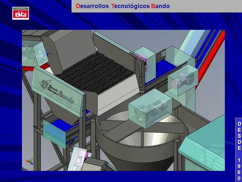 ZONA DE LAVADO DE PRODUCTO: LAVADORA: PRODUCCIÓN: 15.000 KG/ HORA CON ELEVADOR DE SALIDA DE PRODUCTO.- CLEANING AREA FOR PRODUCT: CLEANING MACHINE: PRODUCTION: 15.000 KG/ HOUR WITH ELEVATOR TO TAKE OUT THE PRODUCT.- ZONE DE LAVAGE DE PRODUIT: MACHINE À LAVER: PRODUCTION: 15.000 KGS/ HEURE AVEC ÉLÉVATEUR DE SORTIE DE PRODUIT.- DESDEDESDE 1960 1960DESDEDESDE 1960 1960 Desarrollos Tecnológicos Bando