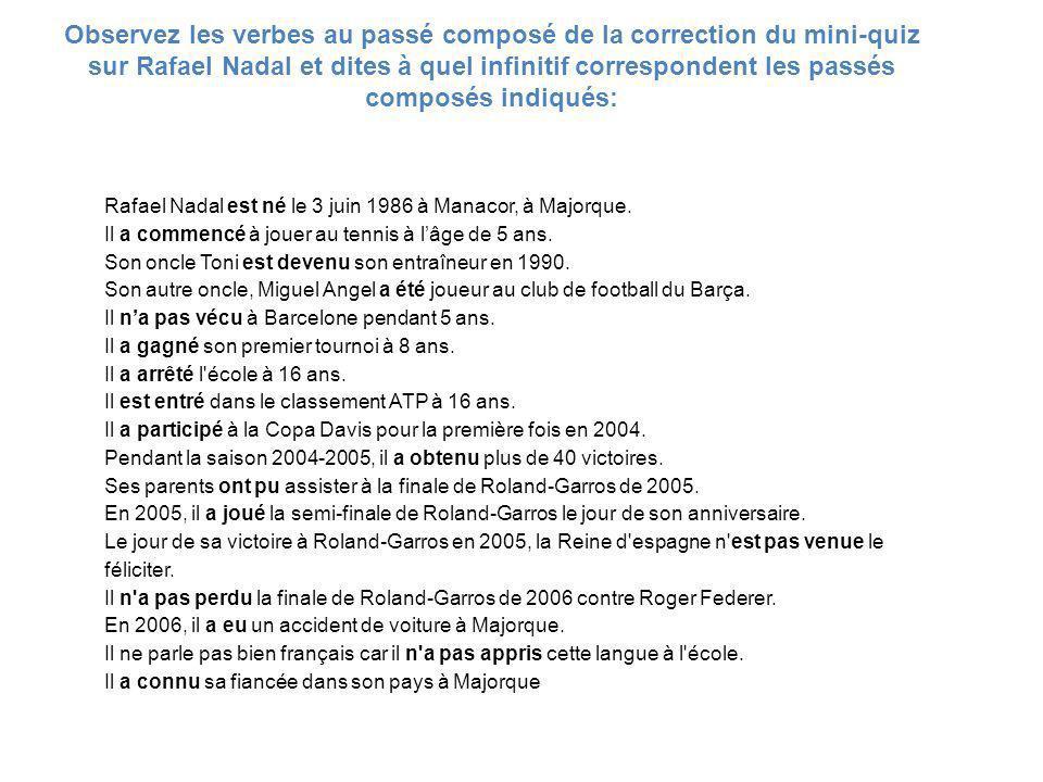 Observez les verbes au passé composé de la correction du mini-quiz sur Rafael Nadal et dites à quel infinitif correspondent les passés composés indiqués: Rafael Nadal est né le 3 juin 1986 à Manacor, à Majorque.