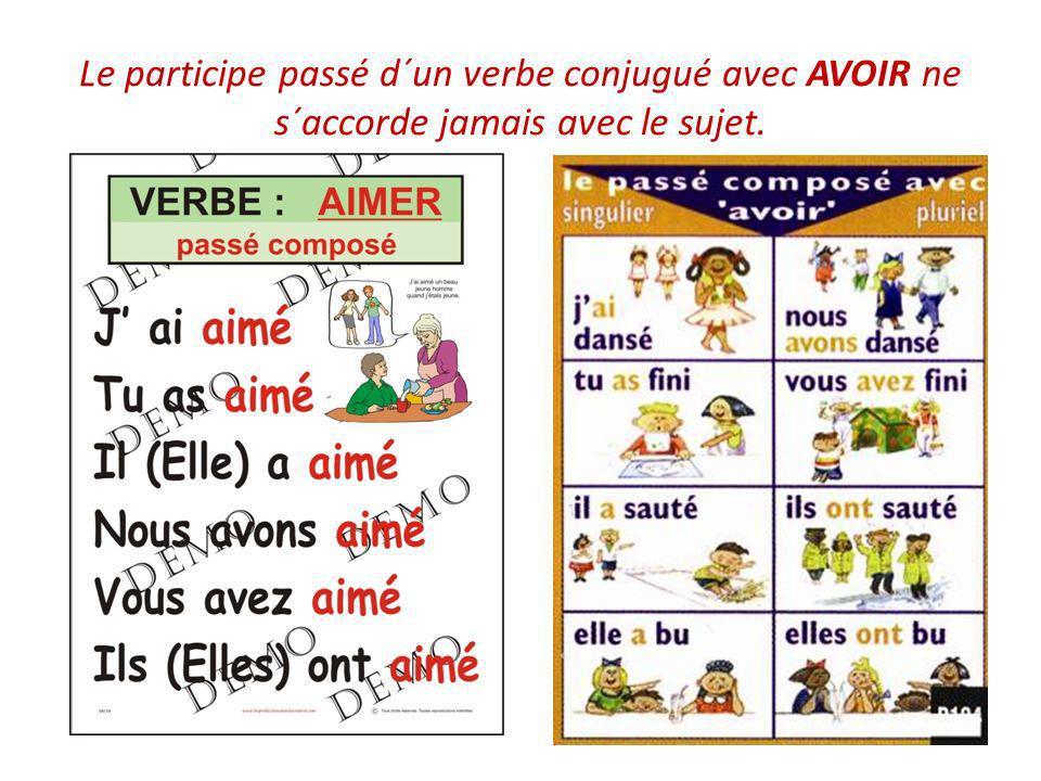 Le participe passé d´un verbe conjugué avec AVOIR ne s´accorde jamais avec le sujet.