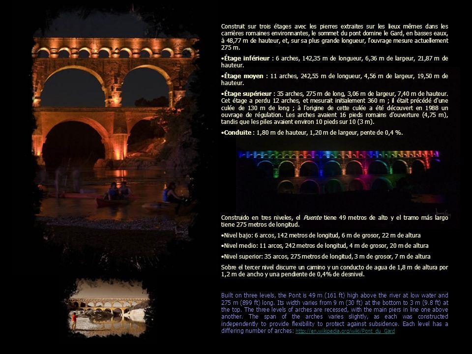 Le Pont du Gard Más información aqui: Le pont du Gard est un pont-aqueduc romain à trois niveaux, situé dans la commune de Vers-Pont-du-Gard, près de Remoulins, dans le département du Gard (France).