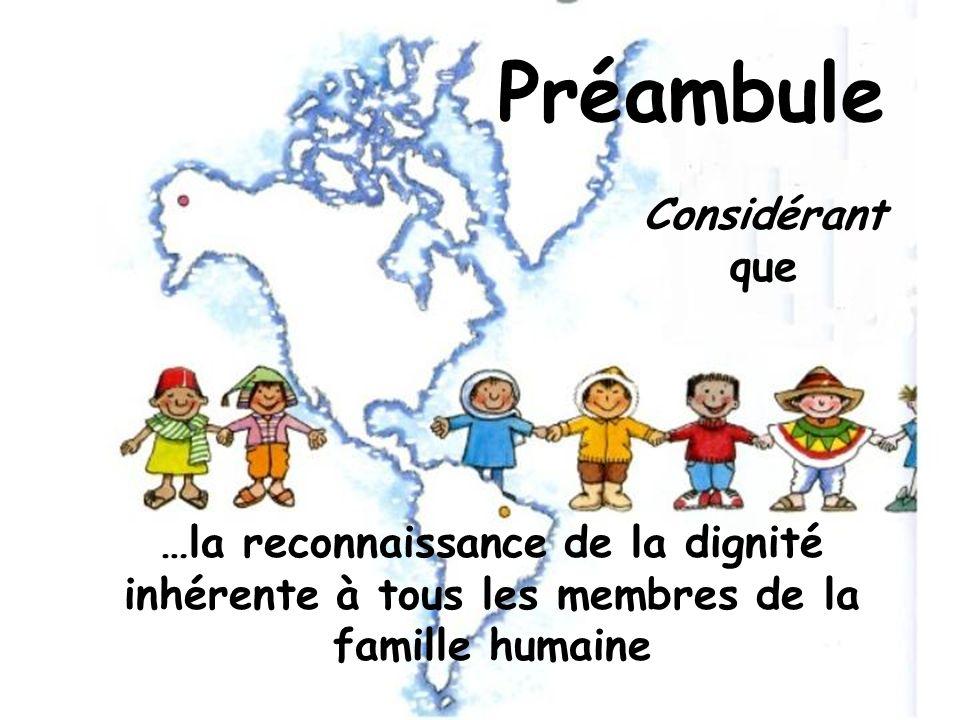 Préambule Considérant que …la reconnaissance de la dignité inhérente à tous les membres de la famille humaine