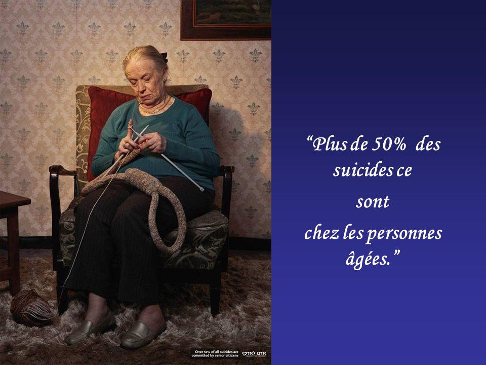Plus de 50% des suicides ce sont chez les personnes âgées.