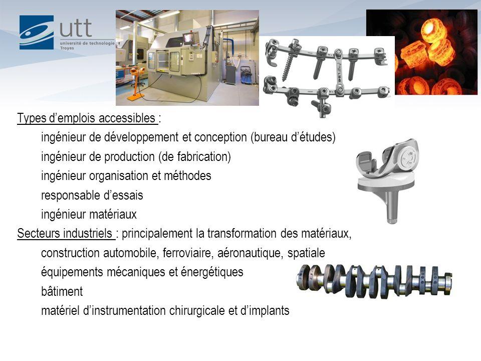 Types demplois accessibles : ingénieur de développement et conception (bureau détudes) ingénieur de production (de fabrication) ingénieur organisation
