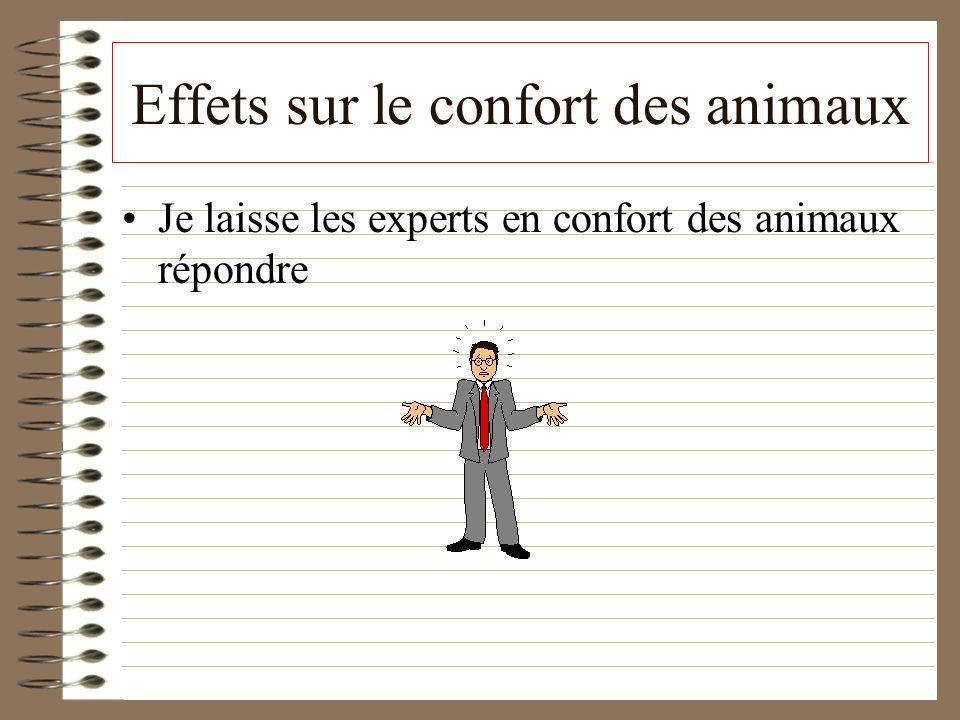 Effets sur le confort des animaux Je laisse les experts en confort des animaux répondre