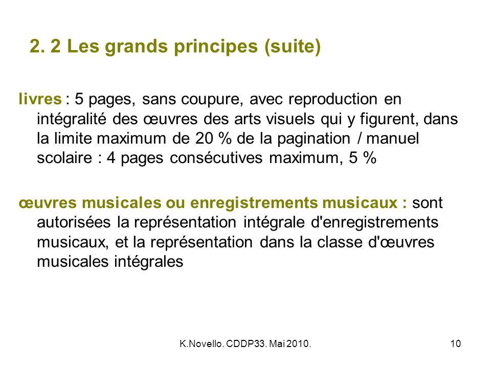 K.Novello. CDDP33. Mai 2010.10 2. 2 Les grands principes (suite) livres : 5 pages, sans coupure, avec reproduction en intégralité des œuvres des arts