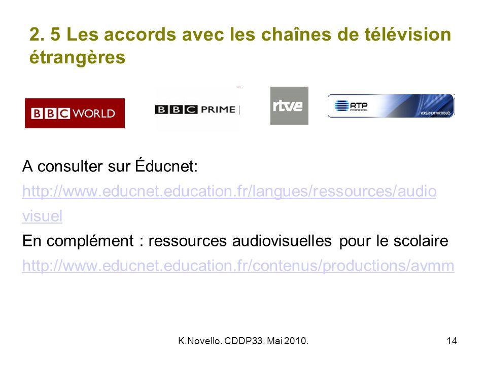 K.Novello. CDDP33. Mai 2010.14 2. 5 Les accords avec les chaînes de télévision étrangères A consulter sur Éducnet: http://www.educnet.education.fr/lan
