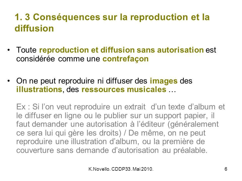 K.Novello. CDDP33. Mai 2010.6 1. 3 Conséquences sur la reproduction et la diffusion Toute reproduction et diffusion sans autorisation est considérée c