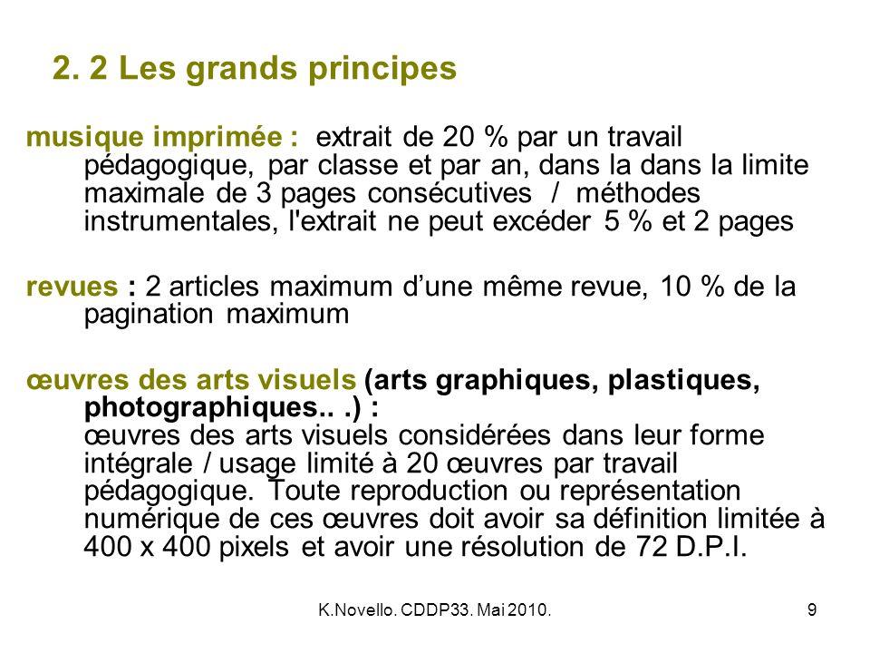K.Novello. CDDP33. Mai 2010.9 2. 2 Les grands principes musique imprimée : extrait de 20 % par un travail pédagogique, par classe et par an, dans la d