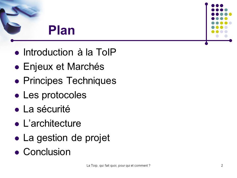 La Toip, qui fait quoi, pour qui et comment ?13 Les Protocoles : SIP (suite) La pile des protocoles SIP : Crée et gère les sessions.