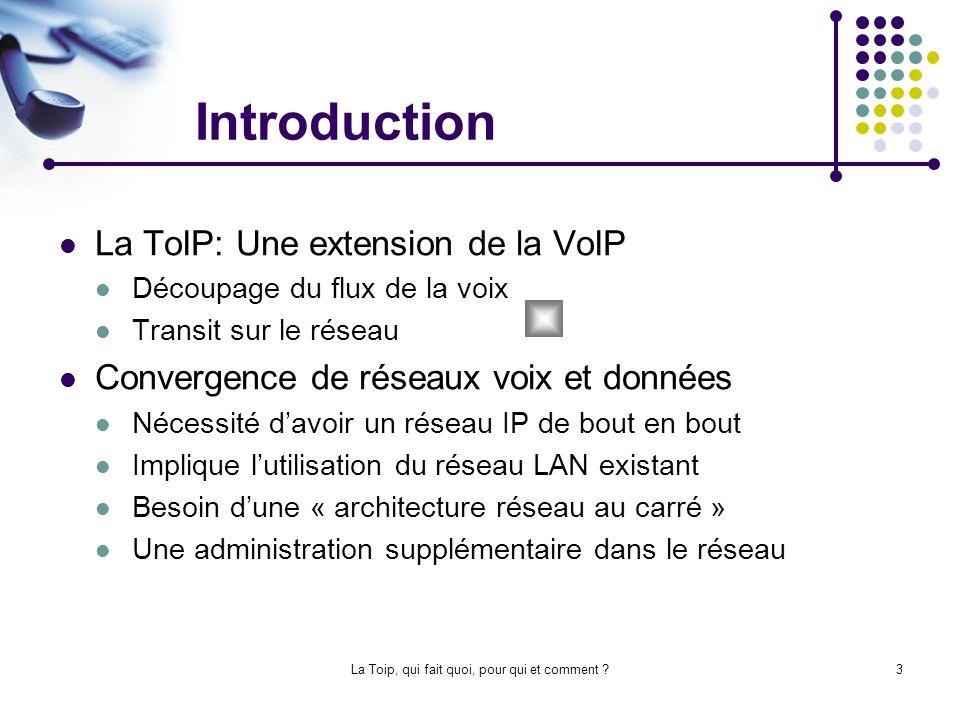 La Toip, qui fait quoi, pour qui et comment ?14 La sécurité et la ToIP La convergence des réseau voix et données engendre des trous de sécurité Les firewalls Allocation de ports de manière dynamique Utilisation du « IP Telephony aware » Transfert de la voix sécurisé SIPS H.