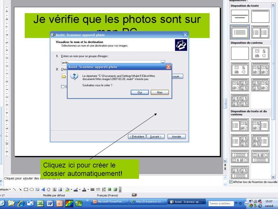 1) Tapez un nom de séquence… 3) Cochez ici si vous voulez supprimer les images de votre carte SD/MMC…En même temps que le transfert sur PC! 2) Vérifie