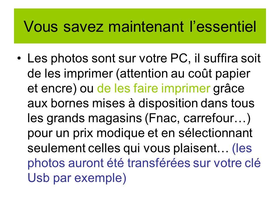 Transfert avec câble Usb pour ceux qui nont pas de lecteur flash sur le PC Embout appareil photo Embout usb vers PC Les ports Usb du pc Clé usb