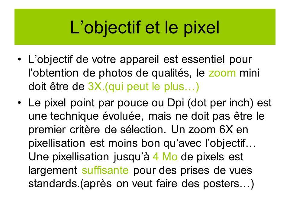 Lobjectif et le pixel Lobjectif de votre appareil est essentiel pour lobtention de photos de qualités, le zoom mini doit être de 3X.(qui peut le plus…) Le pixel point par pouce ou Dpi (dot per inch) est une technique évoluée, mais ne doit pas être le premier critère de sélection.