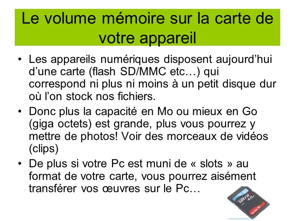 Le volume mémoire sur la carte de votre appareil Les appareils numériques disposent aujourdhui dune carte (flash SD/MMC etc…) qui correspond ni plus ni moins à un petit disque dur où lon stock nos fichiers.