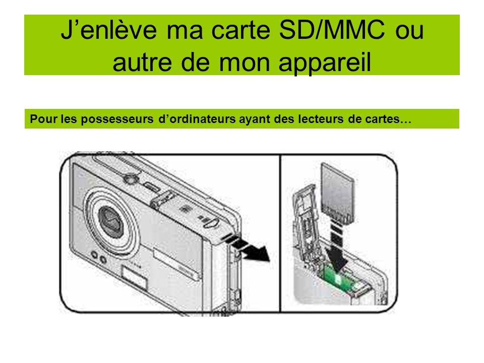 Jenlève ma carte SD/MMC ou autre de mon appareil Pour les possesseurs dordinateurs ayant des lecteurs de cartes…
