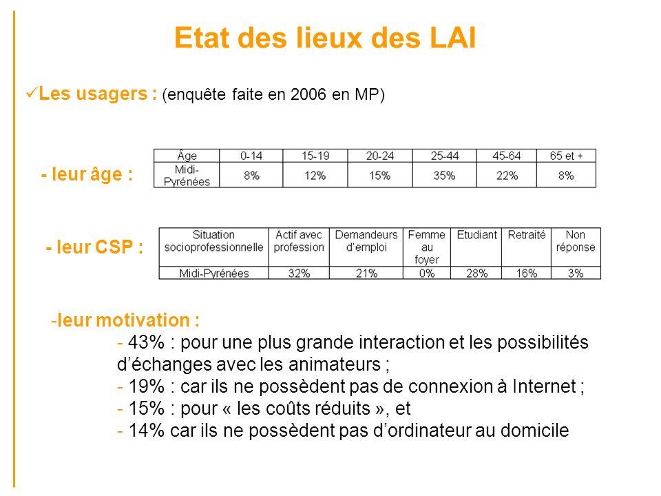 Etat des lieux des LAI Les usagers : (enquête faite en 2006 en MP) - leur âge : - leur CSP : -leur motivation : - 43% : pour une plus grande interacti