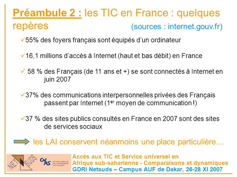 Accès aux TIC et Service universel en Afrique sub-saharienne - Comparaisons et dynamiques GDRI Netsuds – Campus AUF de Dakar, 26-28 XI 2007 55% des foyers français sont équipés dun ordinateur 16,1 millions daccès à Internet (haut et bas débit) en France 58 % des Français (de 11 ans et +) se sont connectés à Internet en juin 2007 37% des communications interpersonnelles privées des Français passent par Internet (1 er moyen de communication !) 37 % des sites publics consultés en France en 2007 sont des sites de services sociaux Préambule 2 : les TIC en France : quelques repères (sources : internet.gouv.fr) les LAI conservent néanmoins une place particulière…