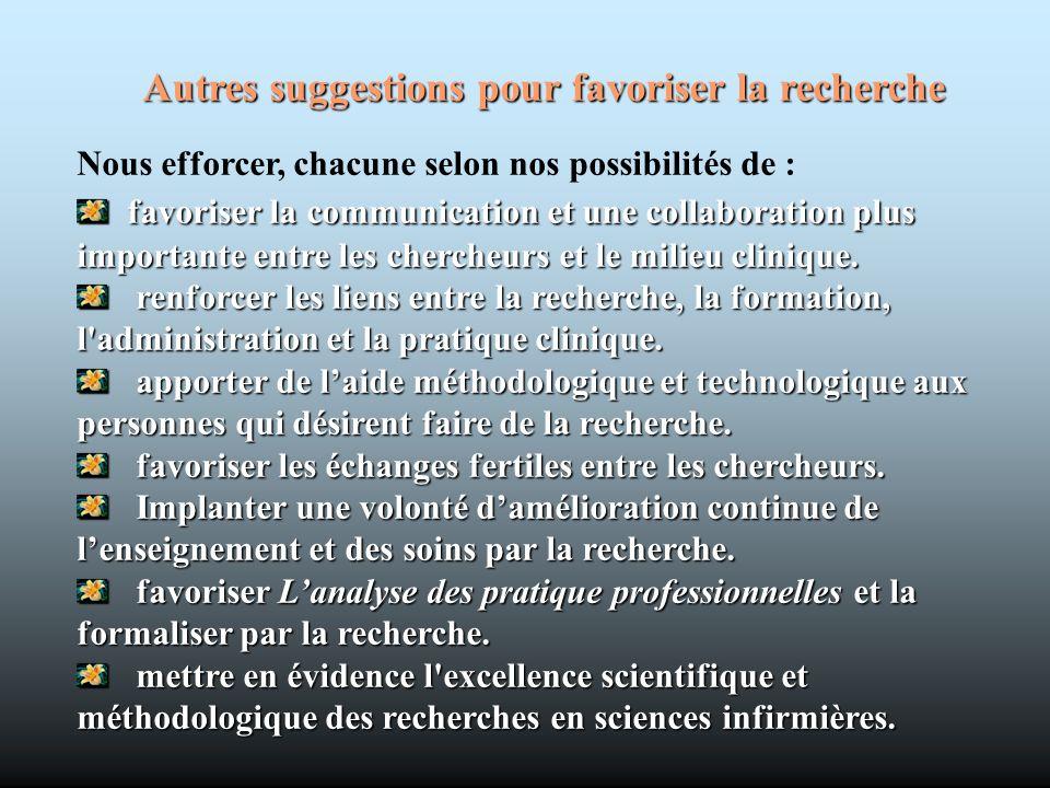 Autres suggestions pour favoriser la recherche Nous efforcer, chacune selon nos possibilités de : favoriser lacommunication et une collaboration plus
