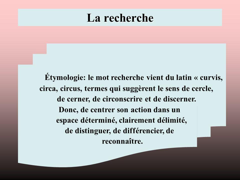 La recherche Étymologie: le mot recherche vient du latin « curvis, circa, circus, termes qui suggèrent le sens de cercle, de cerner, de circonscrire e