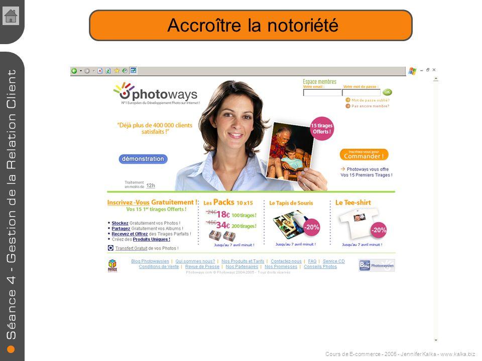 Cours de E-commerce - 2005 - Jennifer Kalka - www.kalka.biz Les programmes de fidélité par codes à saisir en ligne Augmenter le nombres de visites