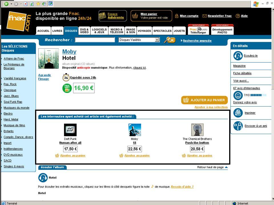 Cours de E-commerce - 2005 - Jennifer Kalka - www.kalka.biz Augmenter le panier moyen Ventes additionnelles : Up-selling Réduction si achat dun produi