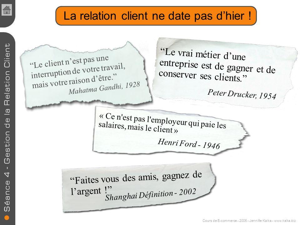 Cours de E-commerce - 2005 - Jennifer Kalka - www.kalka.biz La relation client ne date pas dhier .