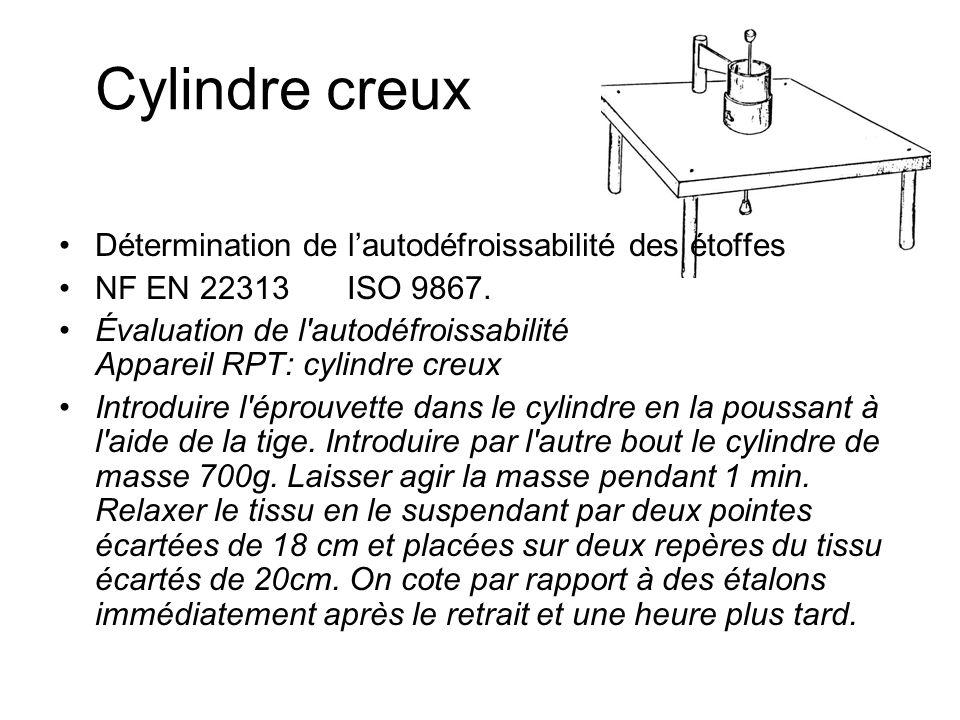 Cylindre creux Détermination de lautodéfroissabilité des étoffes NF EN 22313 ISO 9867. Évaluation de l'autodéfroissabilité Appareil RPT: cylindre creu