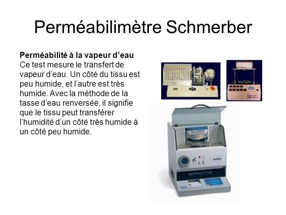 Perméabilimètre Schmerber Perméabilité à la vapeur deau Ce test mesure le transfert de vapeur deau. Un côté du tissu est peu humide, et lautre est trè