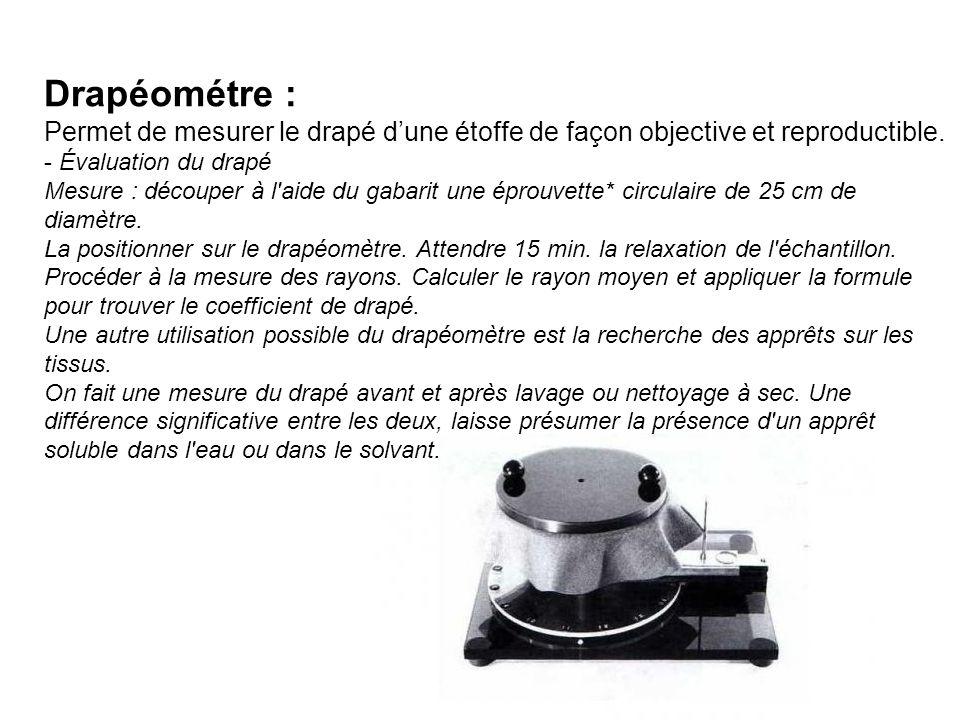 Drapéométre : Permet de mesurer le drapé dune étoffe de façon objective et reproductible. - Évaluation du drapé Mesure : découper à l'aide du gabarit