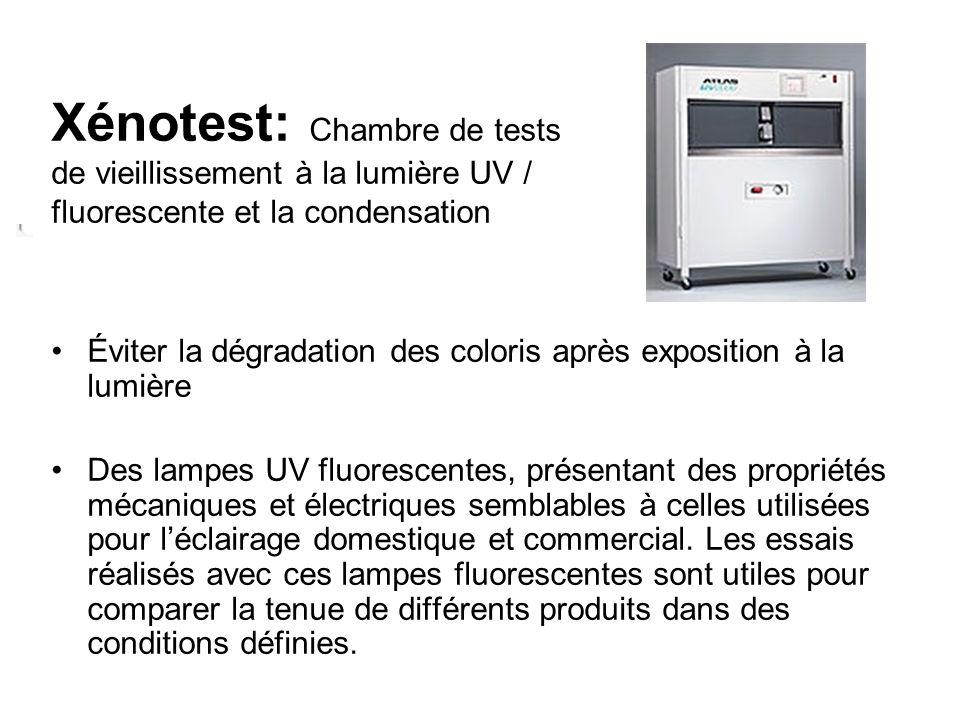 Xénotest: Chambre de tests de vieillissement à la lumière UV / fluorescente et la condensation Éviter la dégradation des coloris après exposition à la