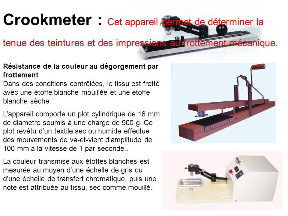Crookmeter : Cet appareil permet de déterminer la tenue des teintures et des impressions au frottement mécanique. Résistance de la couleur au dégorgem