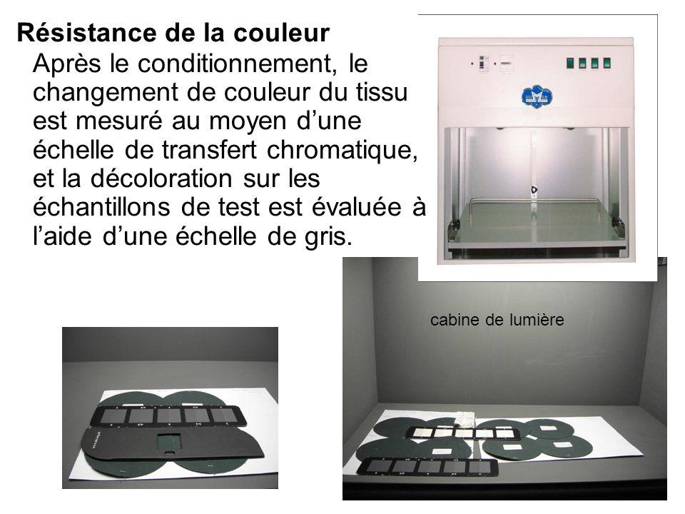 Résistance de la couleur Après le conditionnement, le changement de couleur du tissu est mesuré au moyen dune échelle de transfert chromatique, et la